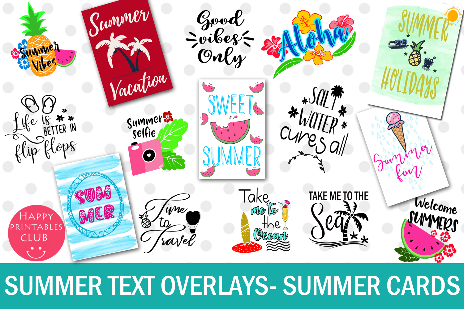 Summer Text Overlays- Summer Cards- Summer Text Clipart example image 1