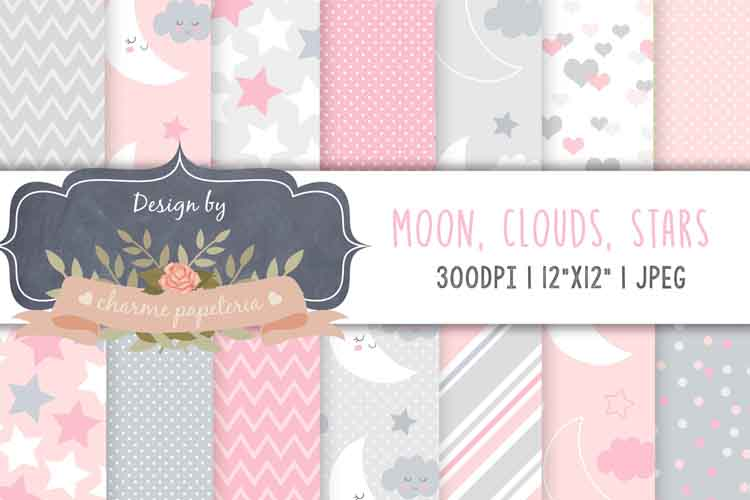 Moon Clouds and stars digital papers, pink and grey paper example image 1