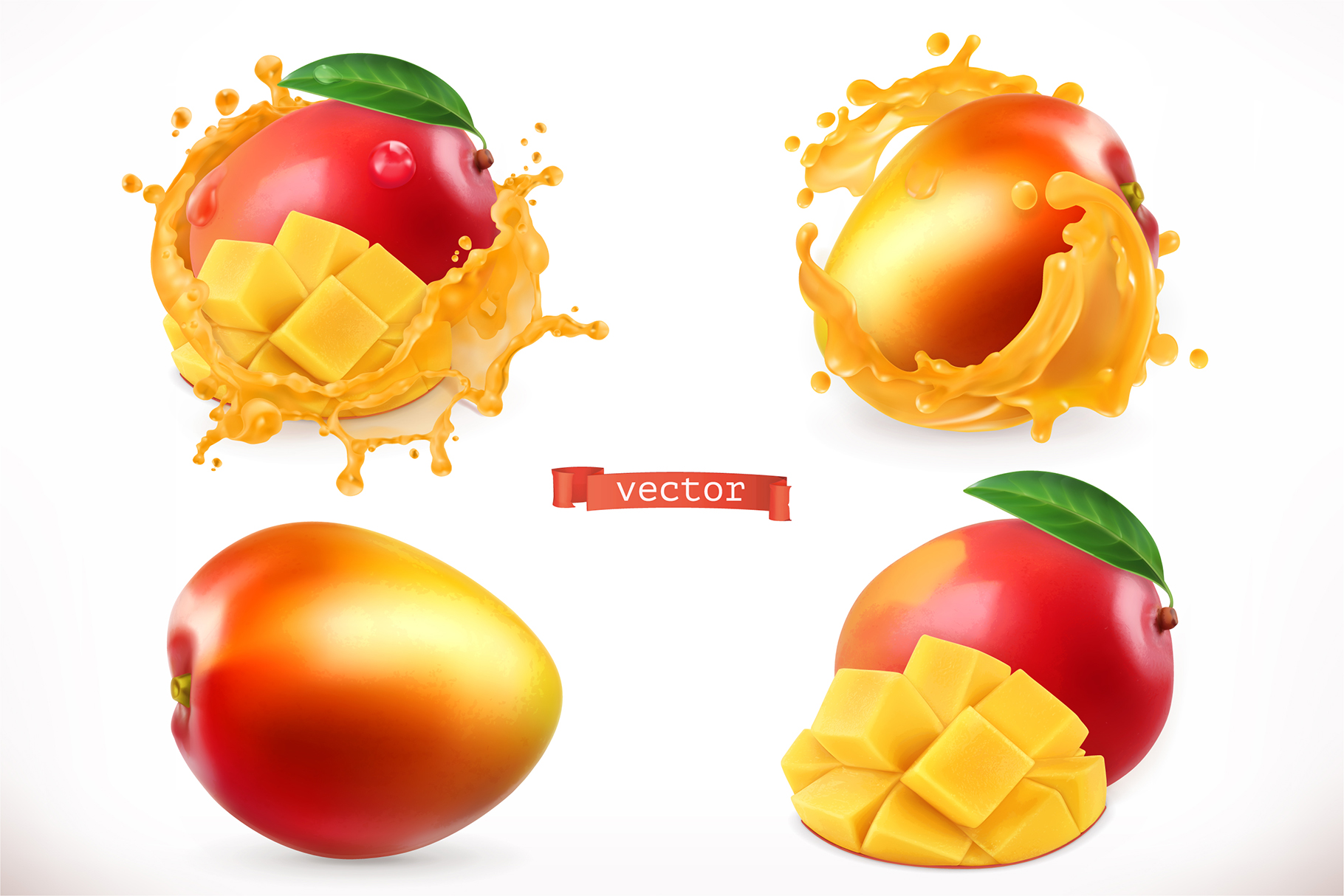 Mango, whole and slices, vector set example image 1