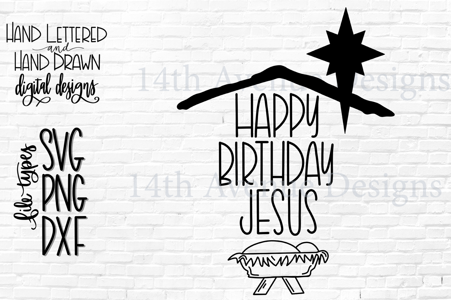 Happy Birthday Jesus SVG Cut File, Hand Lettered example image 2