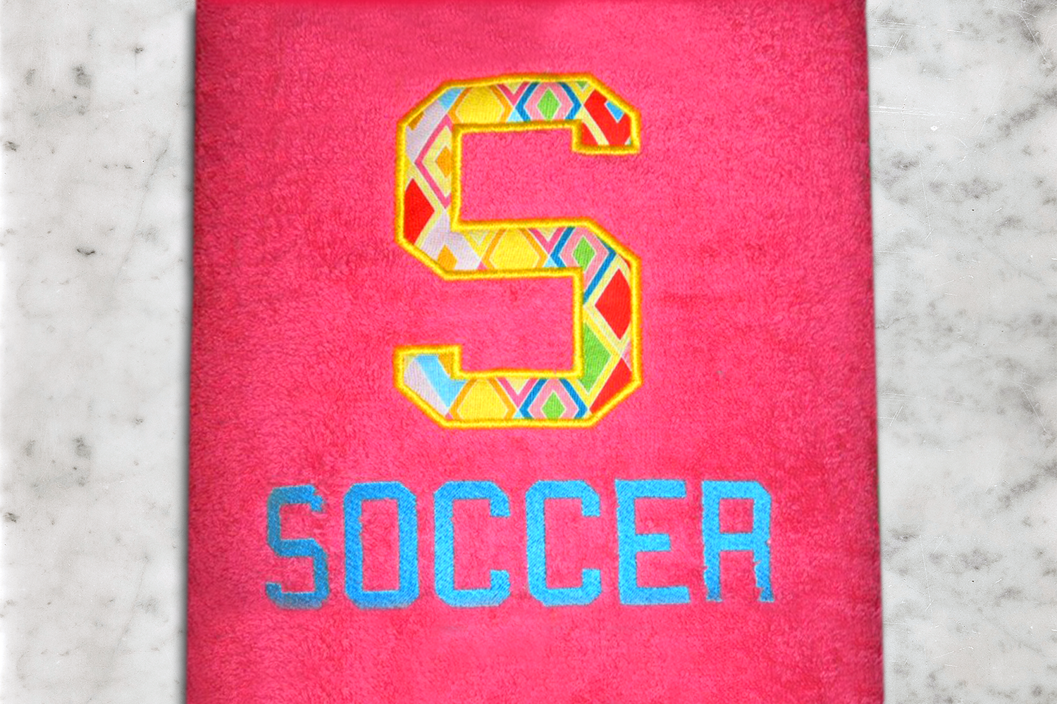 S for Soccer Applique Embroidery Design example image 2