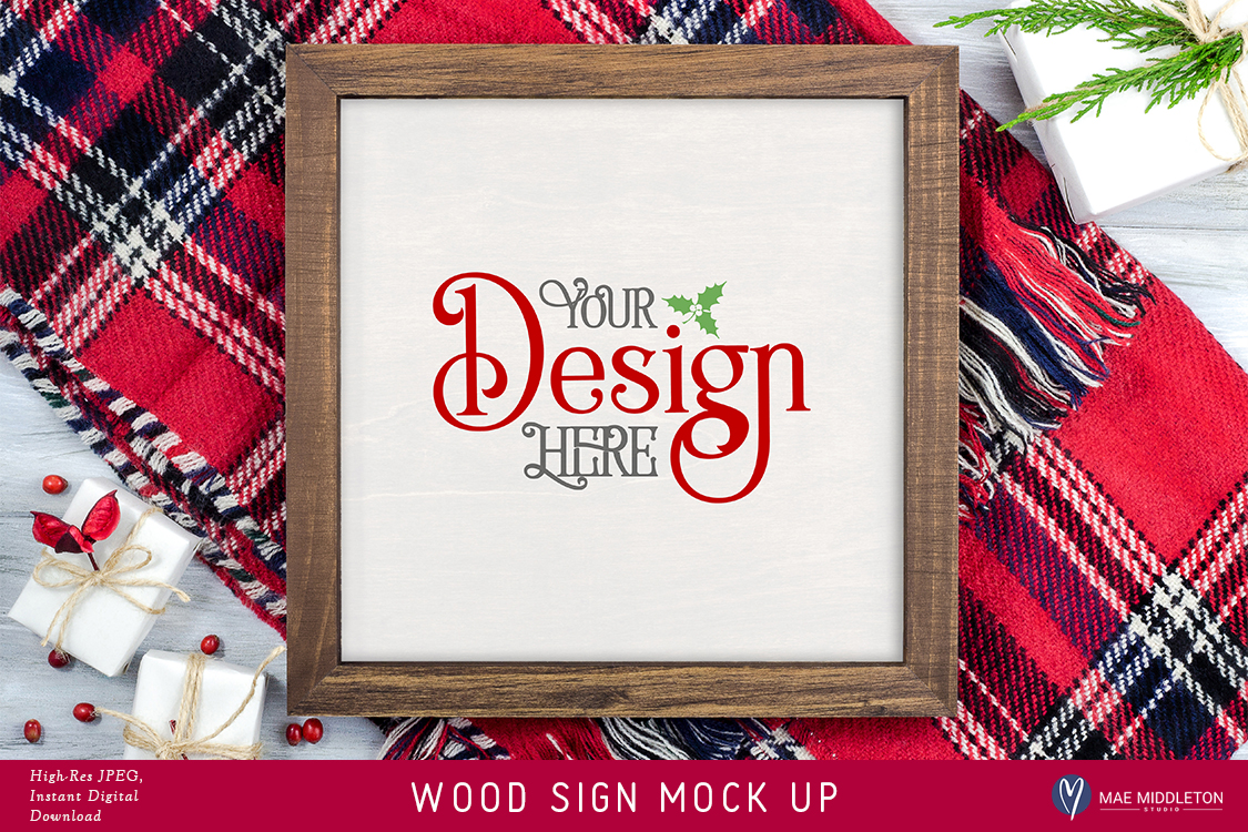 Framed wooden sign mock up for Christmas example image 1