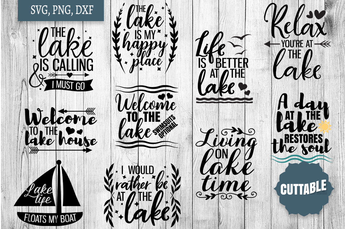 Lake SVG bundle, Lake home cut file bundle, Lake quote SVGs example image 1