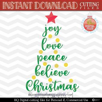 Joy Love Peace Believe Christmas SVG - Xmas tree Svg example image 1