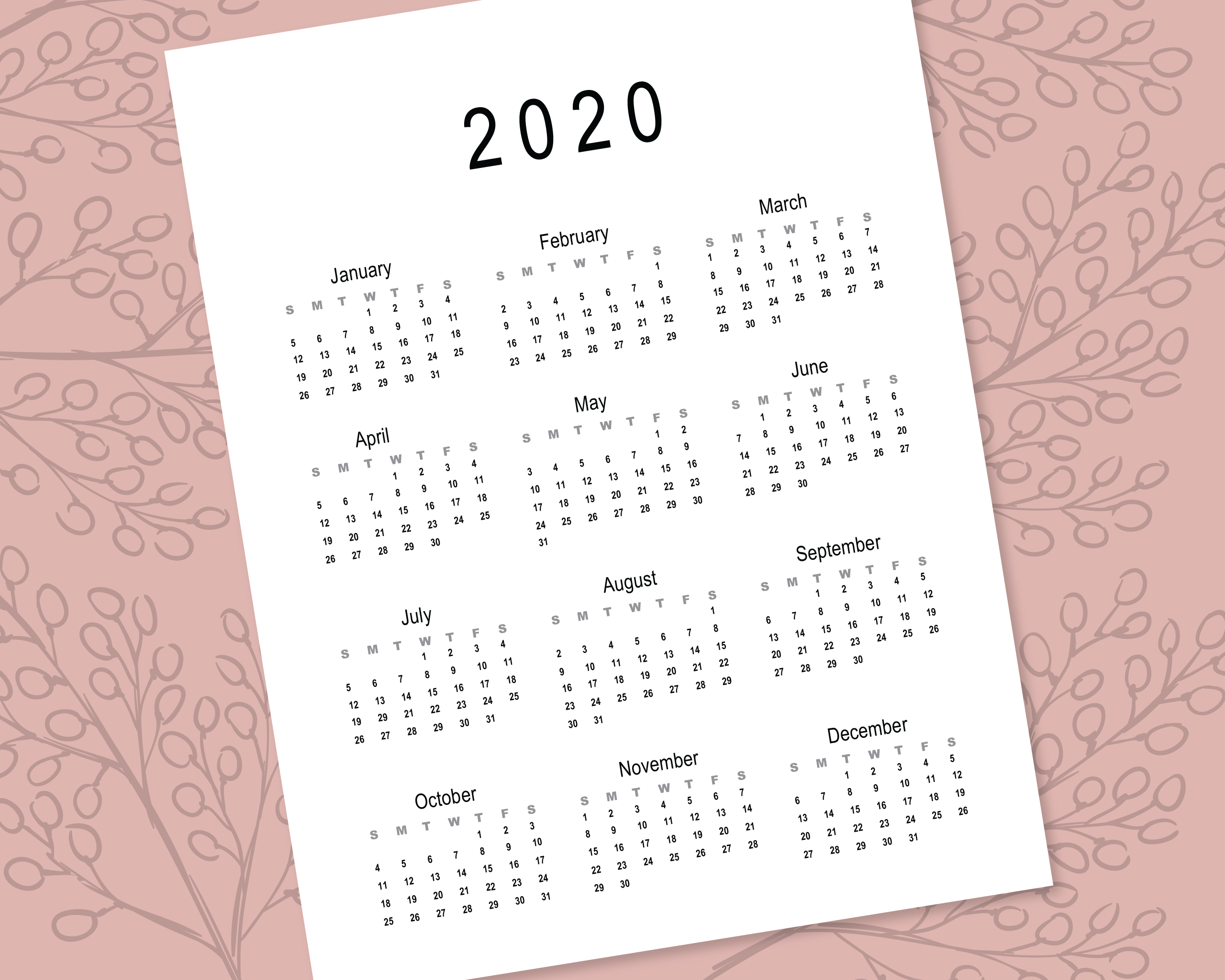 2020 Calendar Template for Commercial Use - PSD, EPS, PDF example image 6