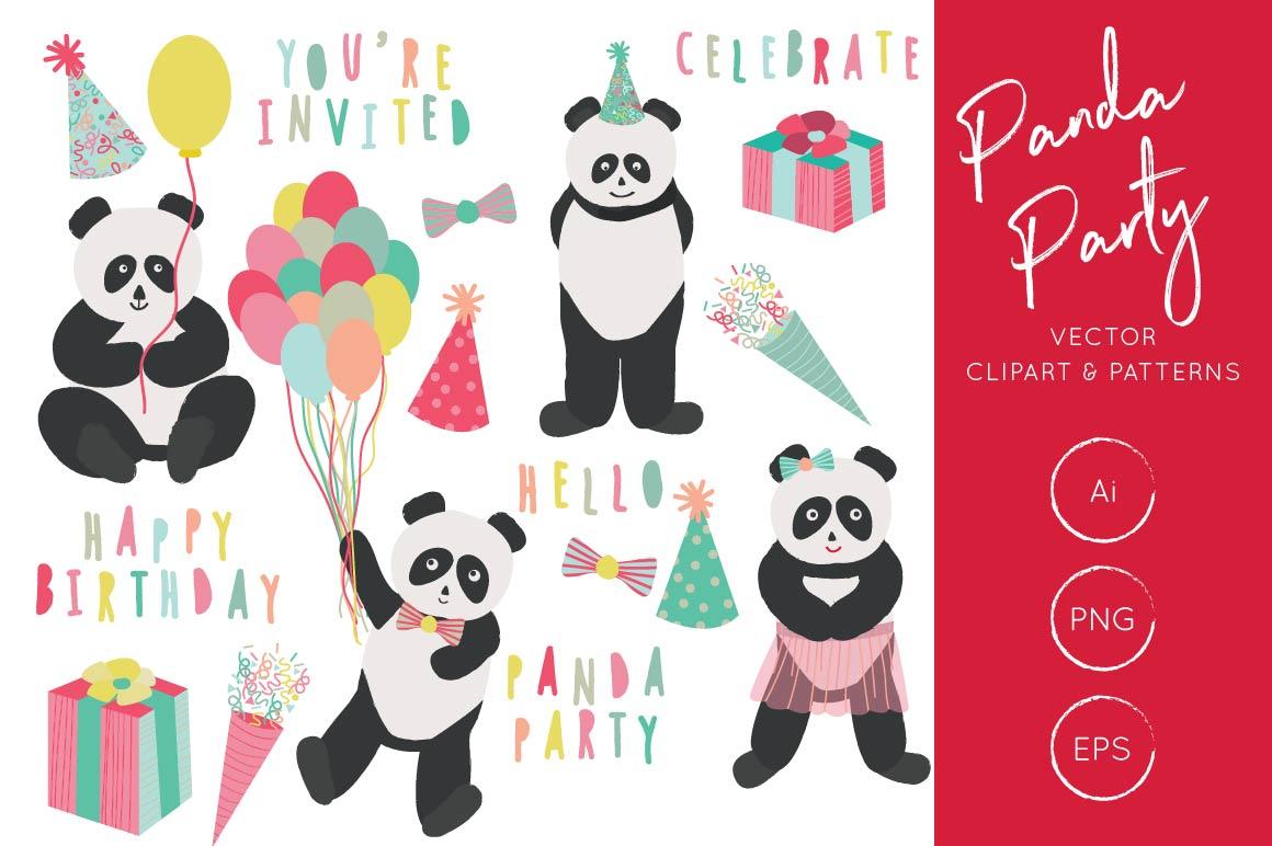 Panda Party Clipart, Panda Birthday Clipart and Pattern Set