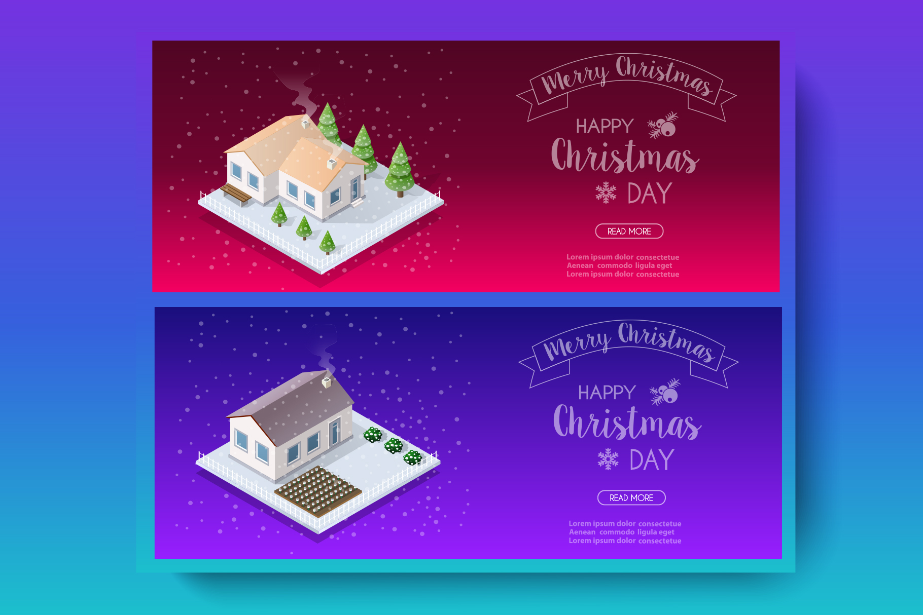 Isometric landscape snow covered Christmas example image 1