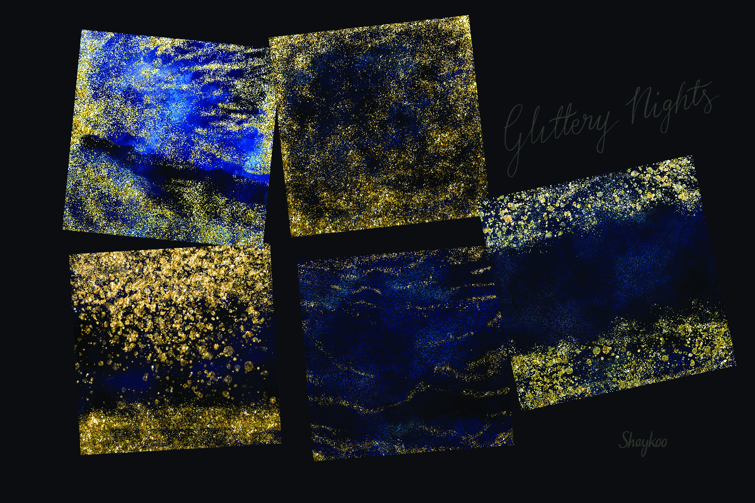 Starry Nights Digital Paper, Gold Glitter Background, Dark example image 2