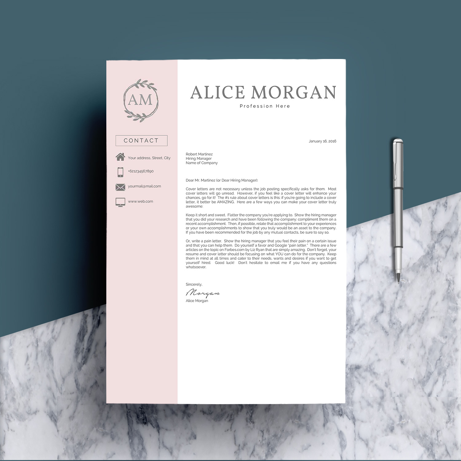 Professional Creative Resume Template - Alice Morgan example image 5