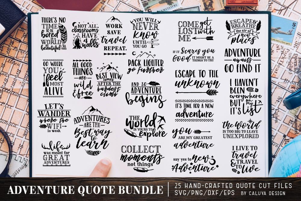Adventure & Travel Quote SVG Cut File Bundle example image 1