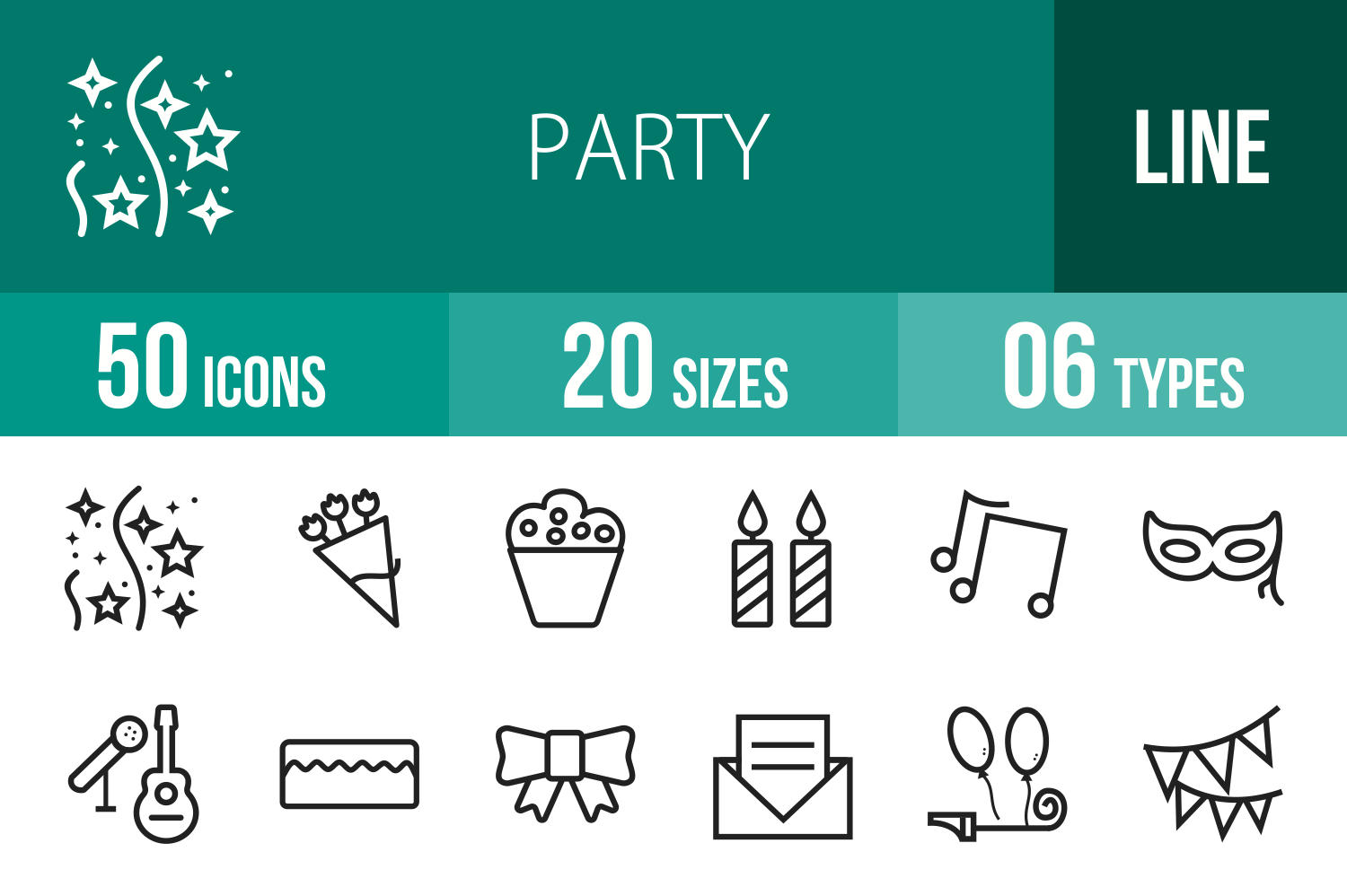 50 Party Line Icons example image 1