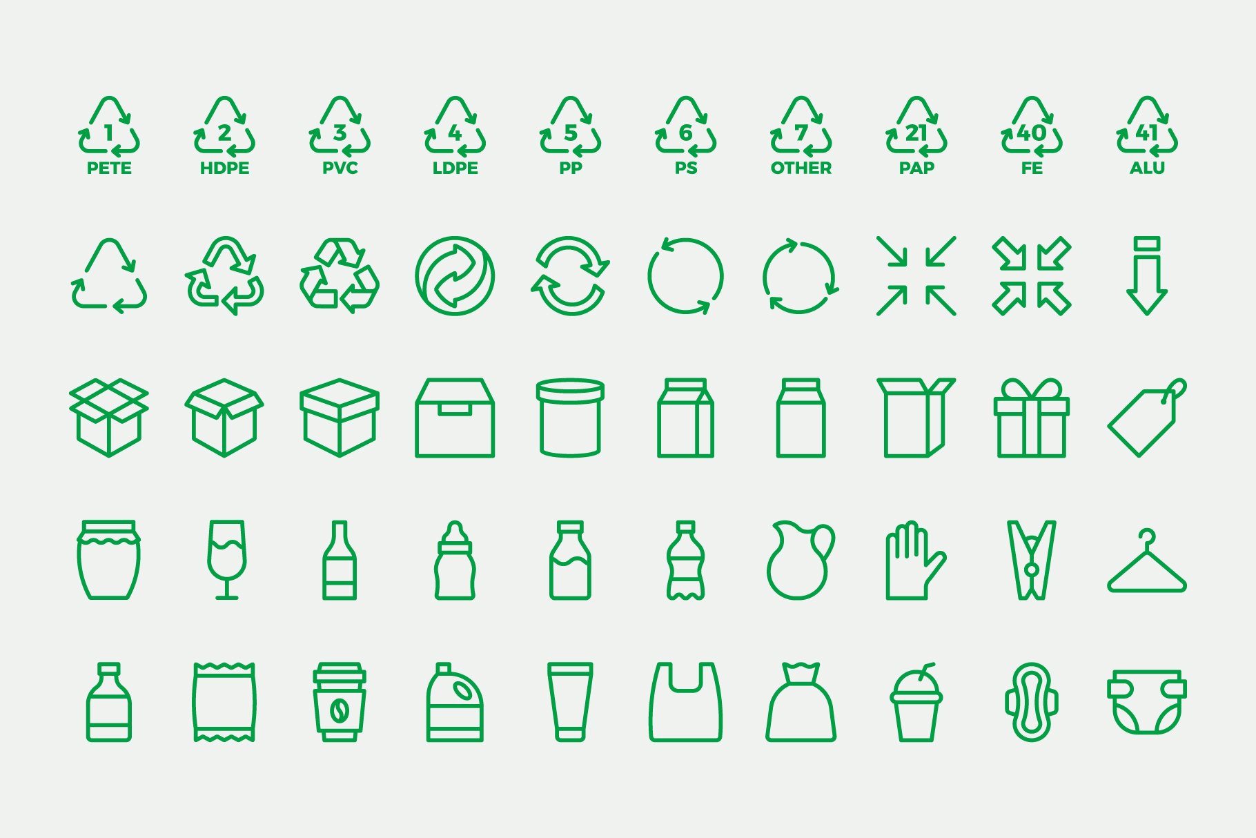 Waste Recycling Line Icons example image 4