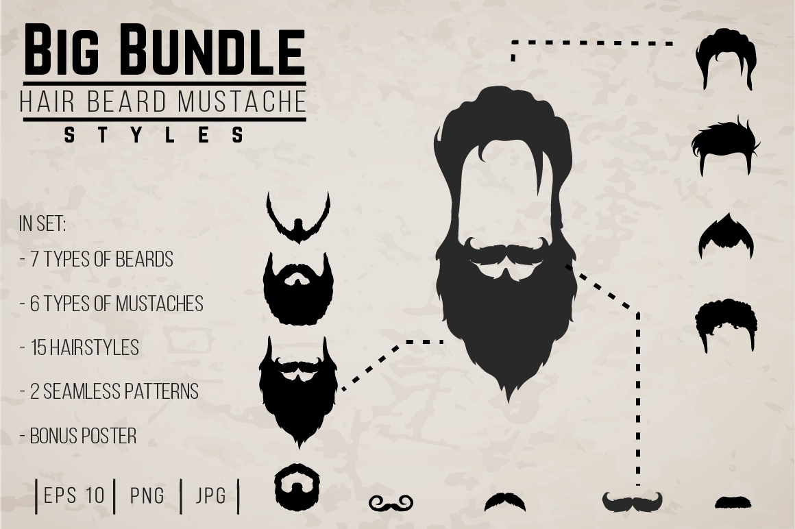 Vector Mustaches, beards and hair BIG set. example image 1