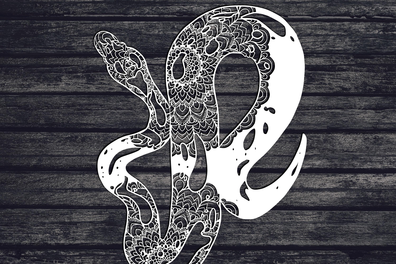 Mandala Ball Python Svg, Snake Svg, Mandala Svg, Zentangle example image 1