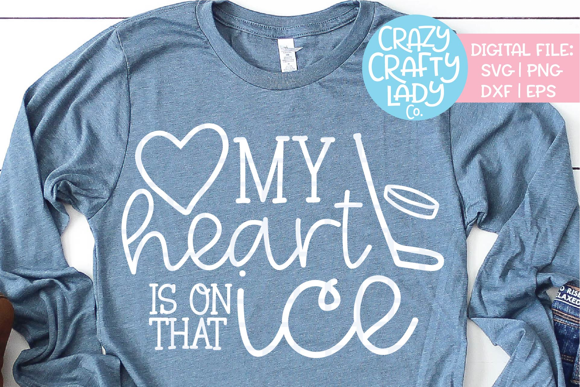 My Heart Is on That Ice Hockey SVG DXF EPS PNG Cut File example image 1
