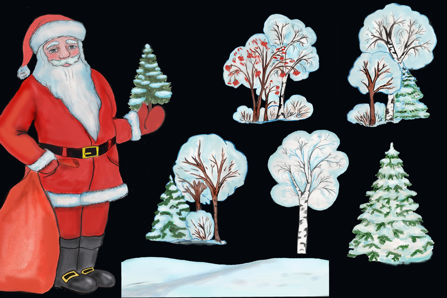 Christmas clipart, winter forest trees with Santa Claus example image 3