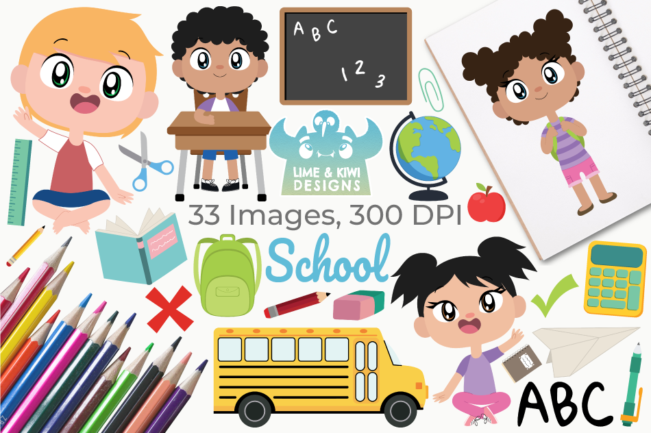 School Clipart, Instant Download Vector Art, Commercial Use example image 1