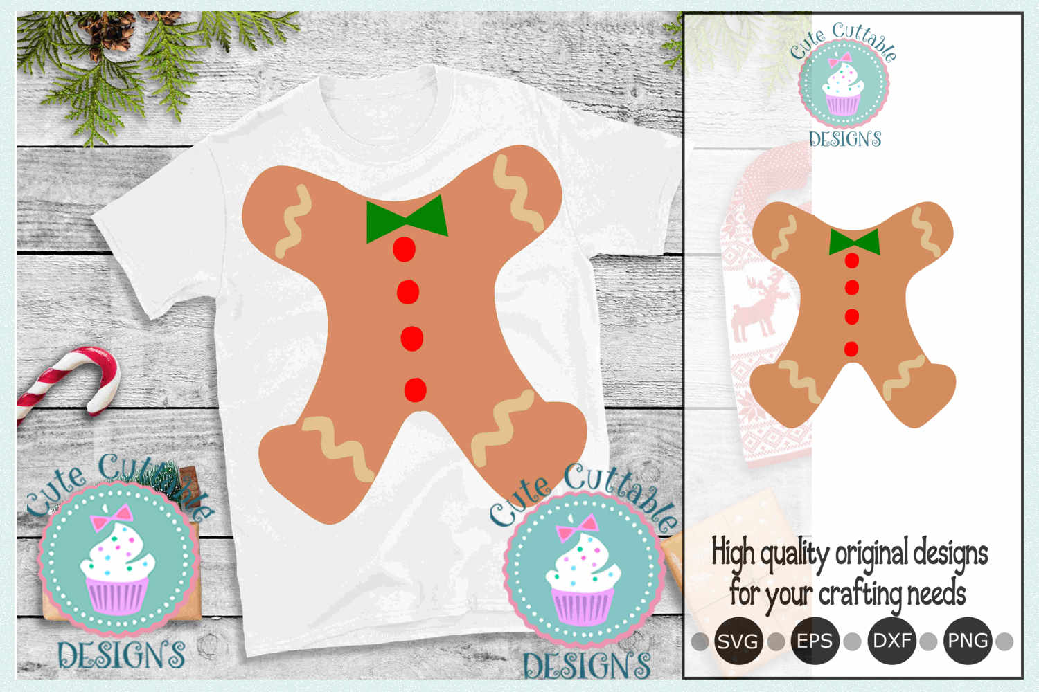 Ugly Christmas sweater, Gingerbread man body suit svg example image 1