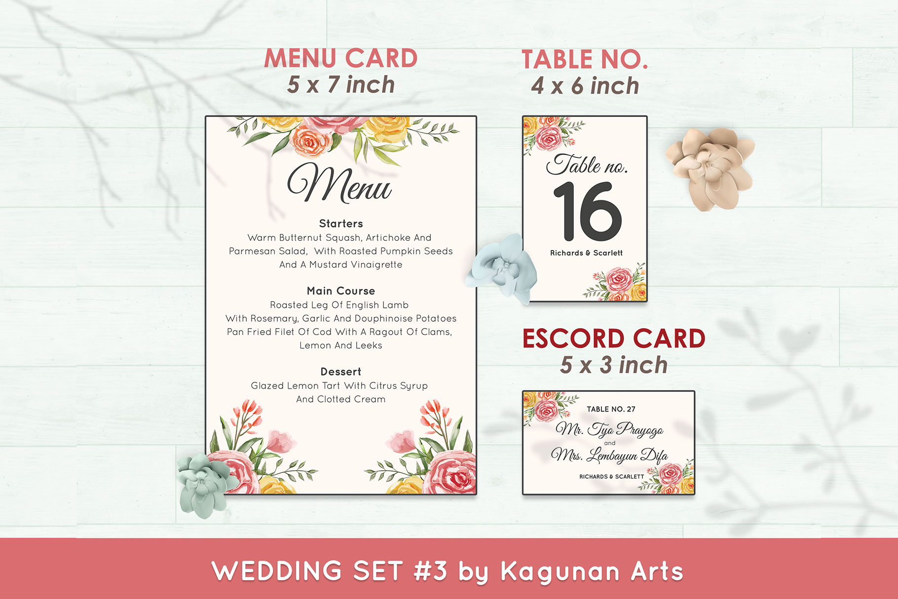 Wedding Invitation Set #3 Watercolor Floral Flower Style example image 6