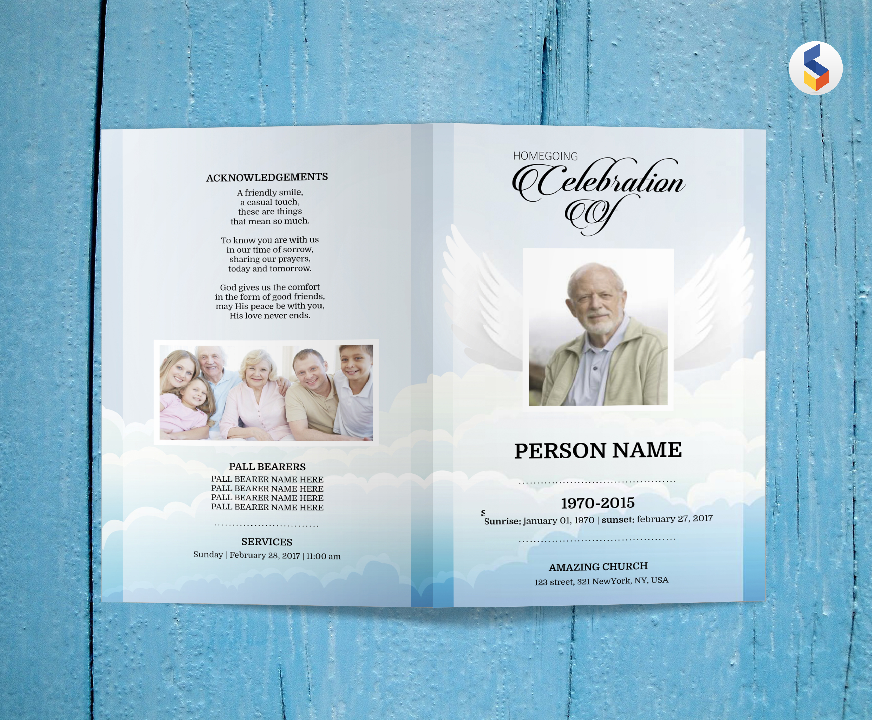 ANGEL WING | Funeral Program Template | MS Word Only example image 3