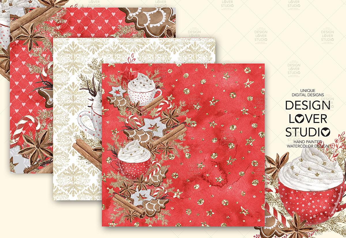 Gingerbread Cookies Christmas digital paper pack example image 3