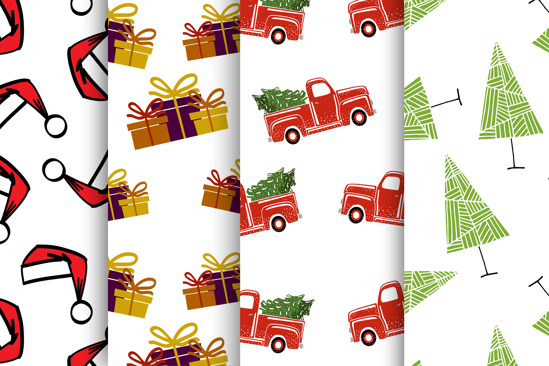 Set of 4 Christmas seamless patterns. example image 2