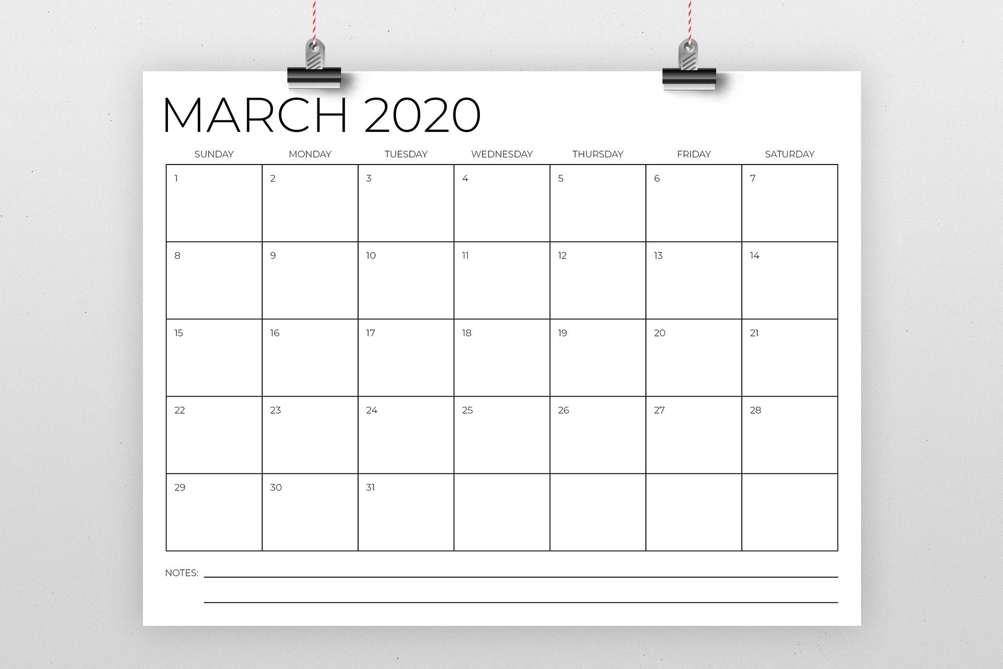 8.5 x 11 Inch Minimal 2020 Calendar example image 2