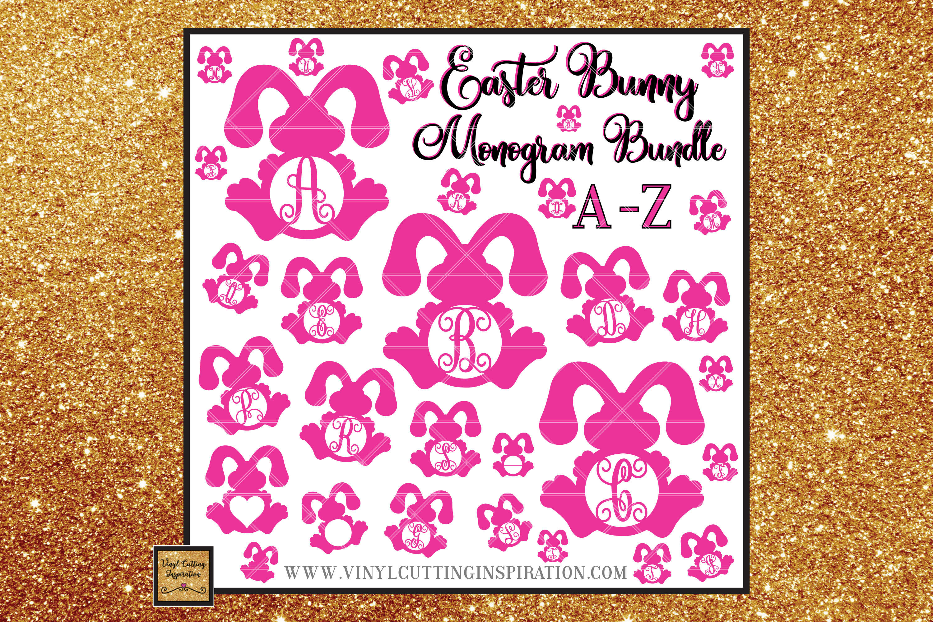 Easter Svg, Easter Bunny Svg, Rustic Bunny Monogram Bundle example image 1