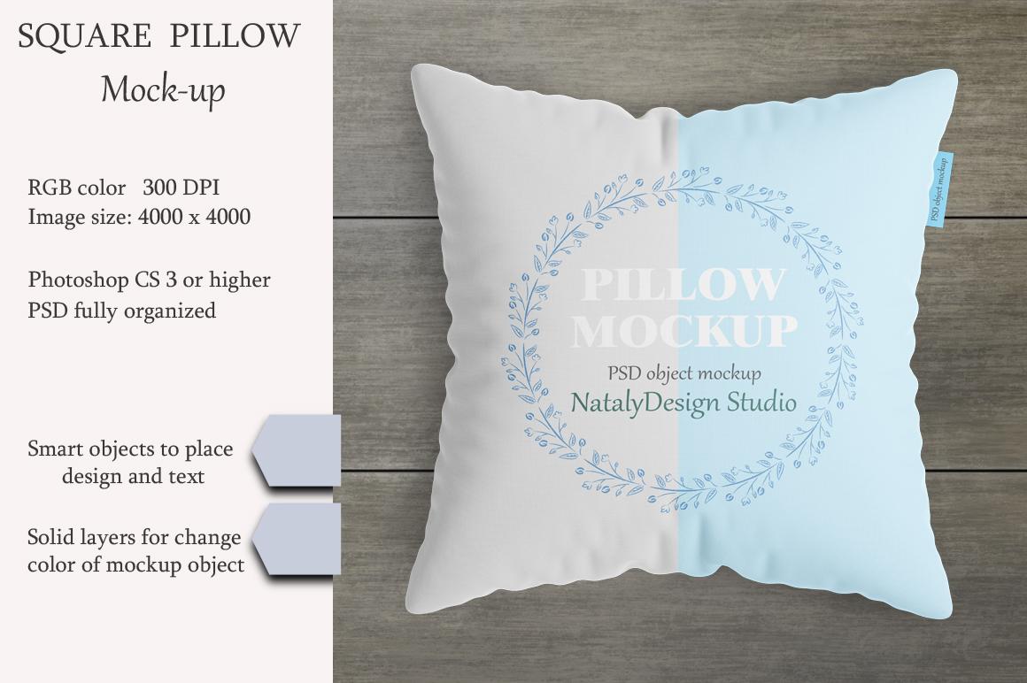 Square pillow mockup. Product mockup. example image 1