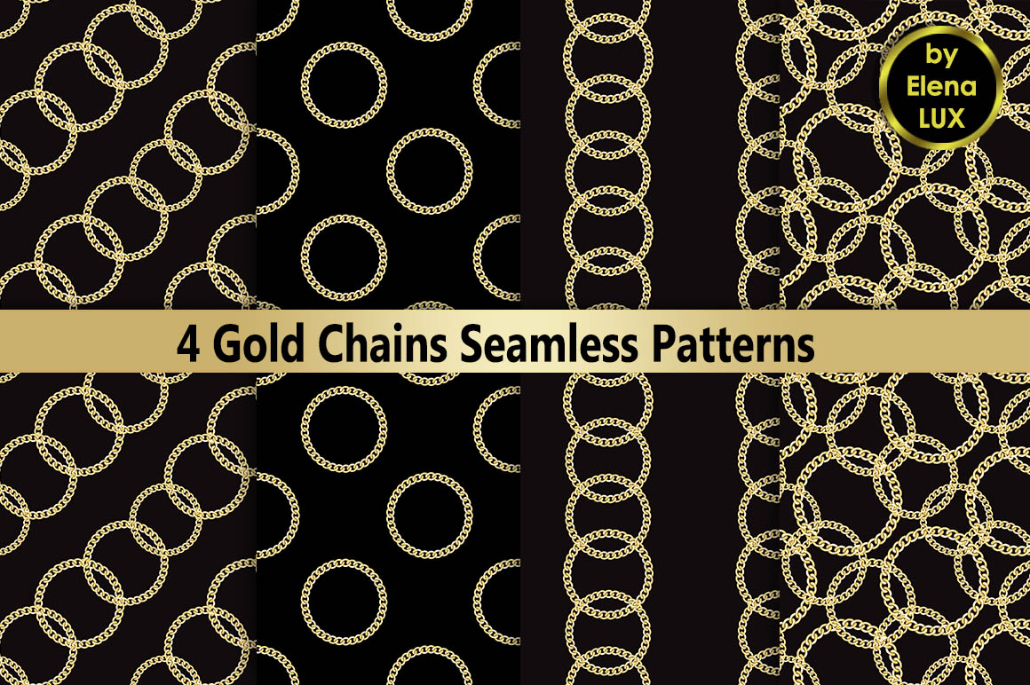 Golden Chains Seamless Set example image 1