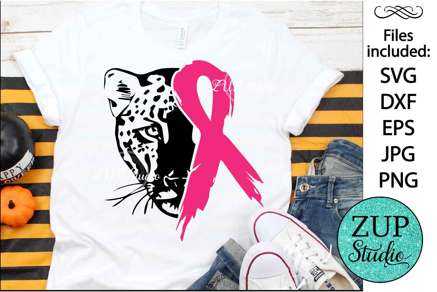 Leopard Face with Ribbon svg design 473 example image 1