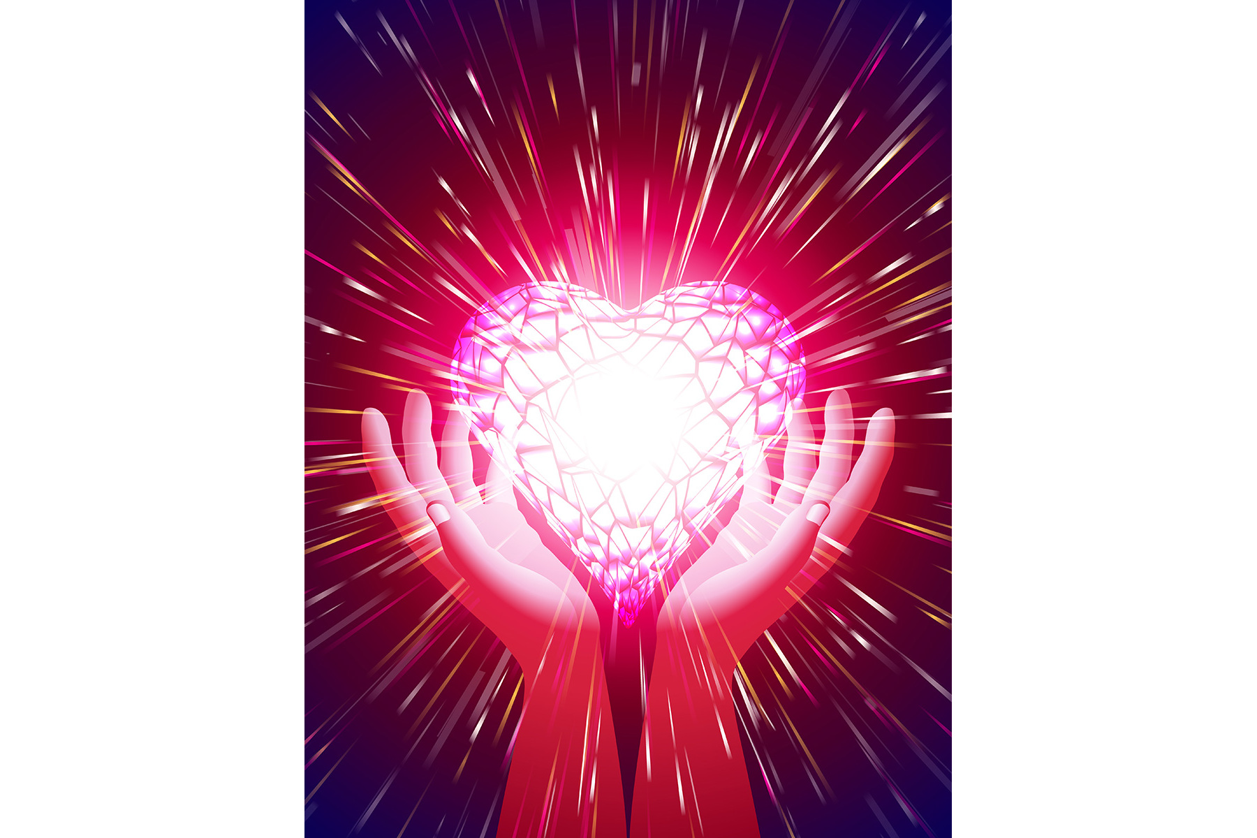 Vector Heart Hand Light Beam Magic Power Love Background Red example image 1