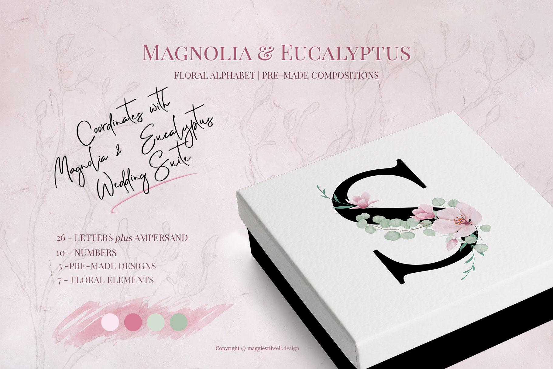 Magnolia & Eucalyptus Floral Alphabet example image 1