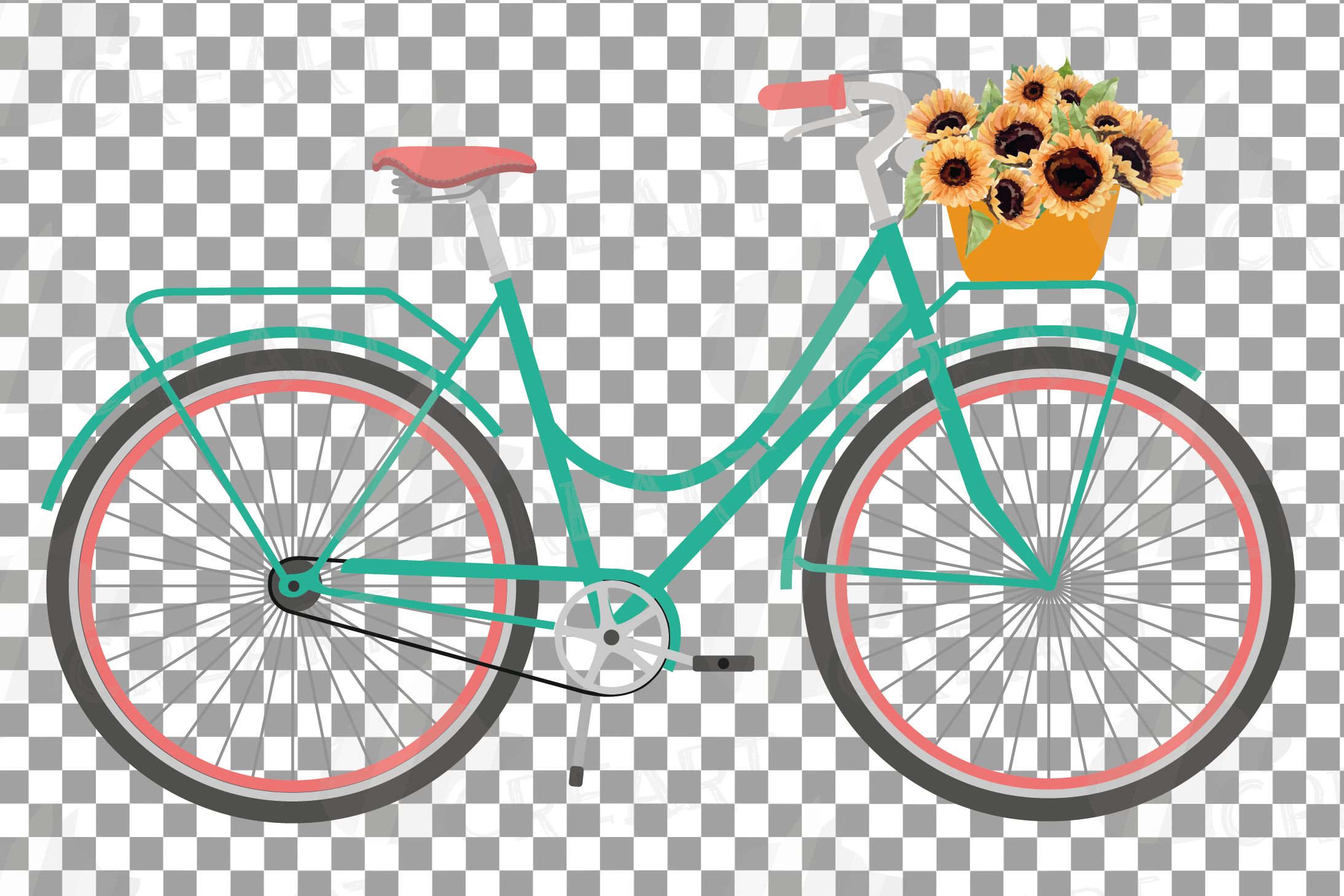 Sunflower bouquets bicycles clip art. Floral bikes decor png example image 8