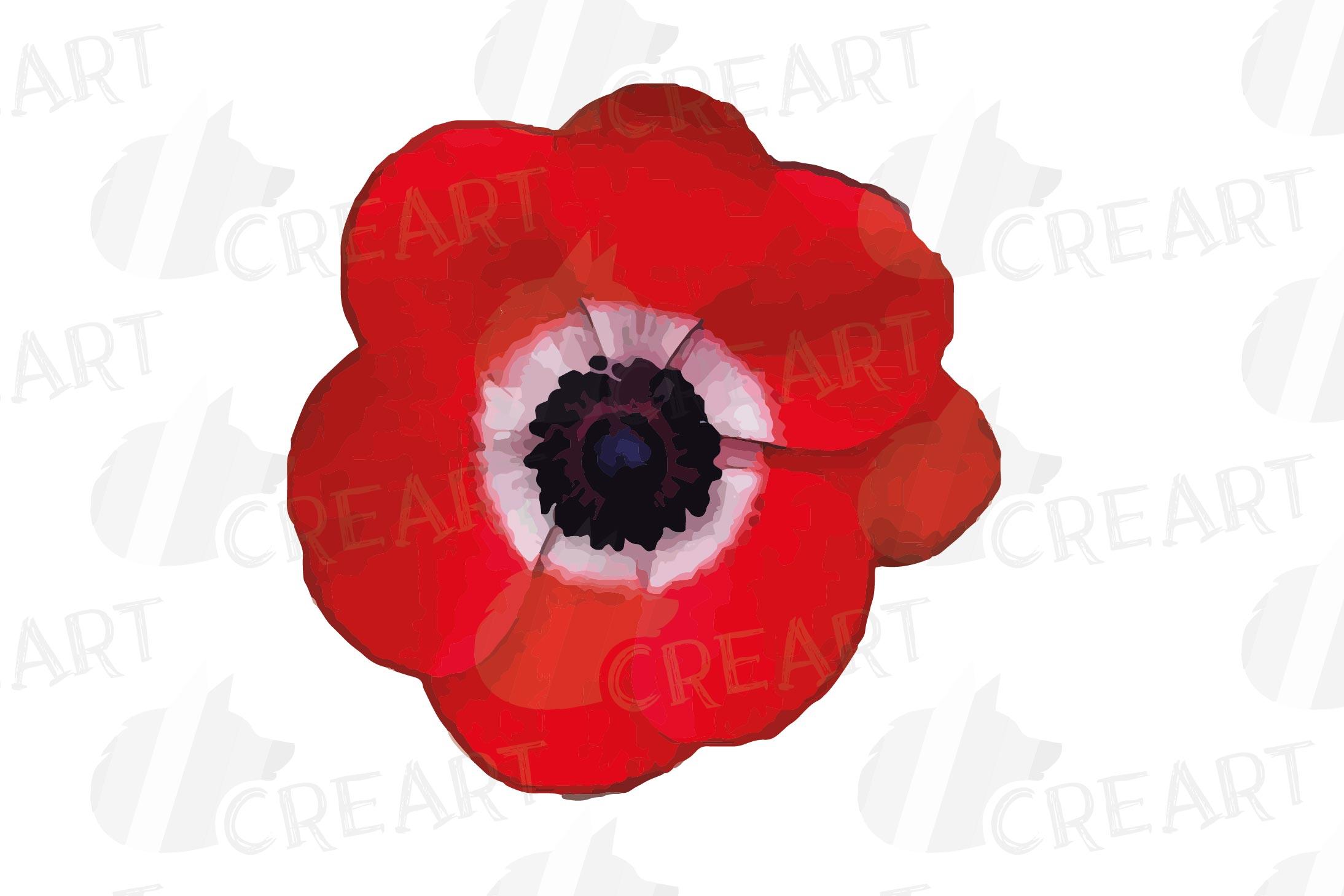 Anemone watercolor clip art pack, watercolor anemone design example image 14