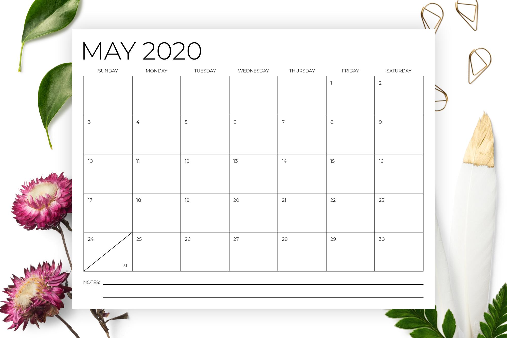 8.5 x 11 Inch Minimal 2020 Calendar example image 3