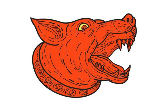 Mad Mongrel Dog Head Barking Mono Line example image 1
