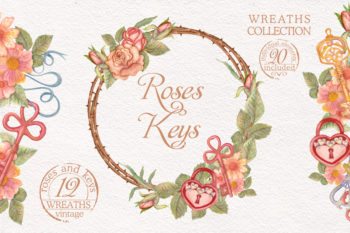 Watercolor wreaths set. Roses & keys example image 1