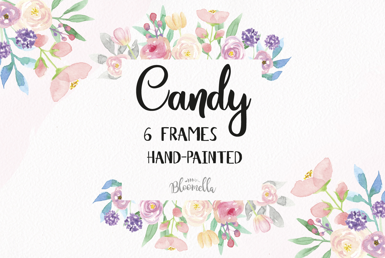 Candy Frames Watercolor Clipart Border Design Bundles