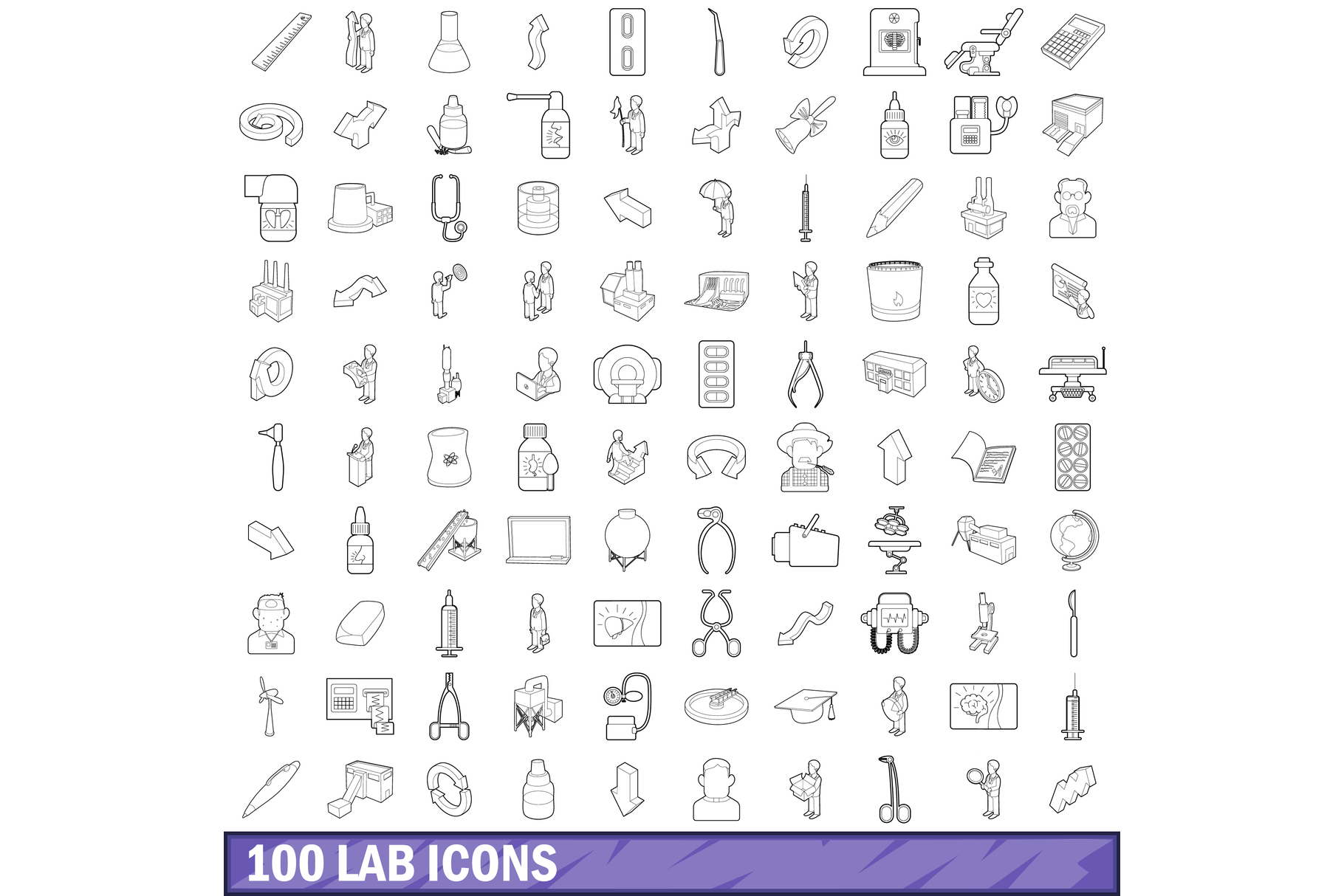 100 lab icons set, outline style example image 1
