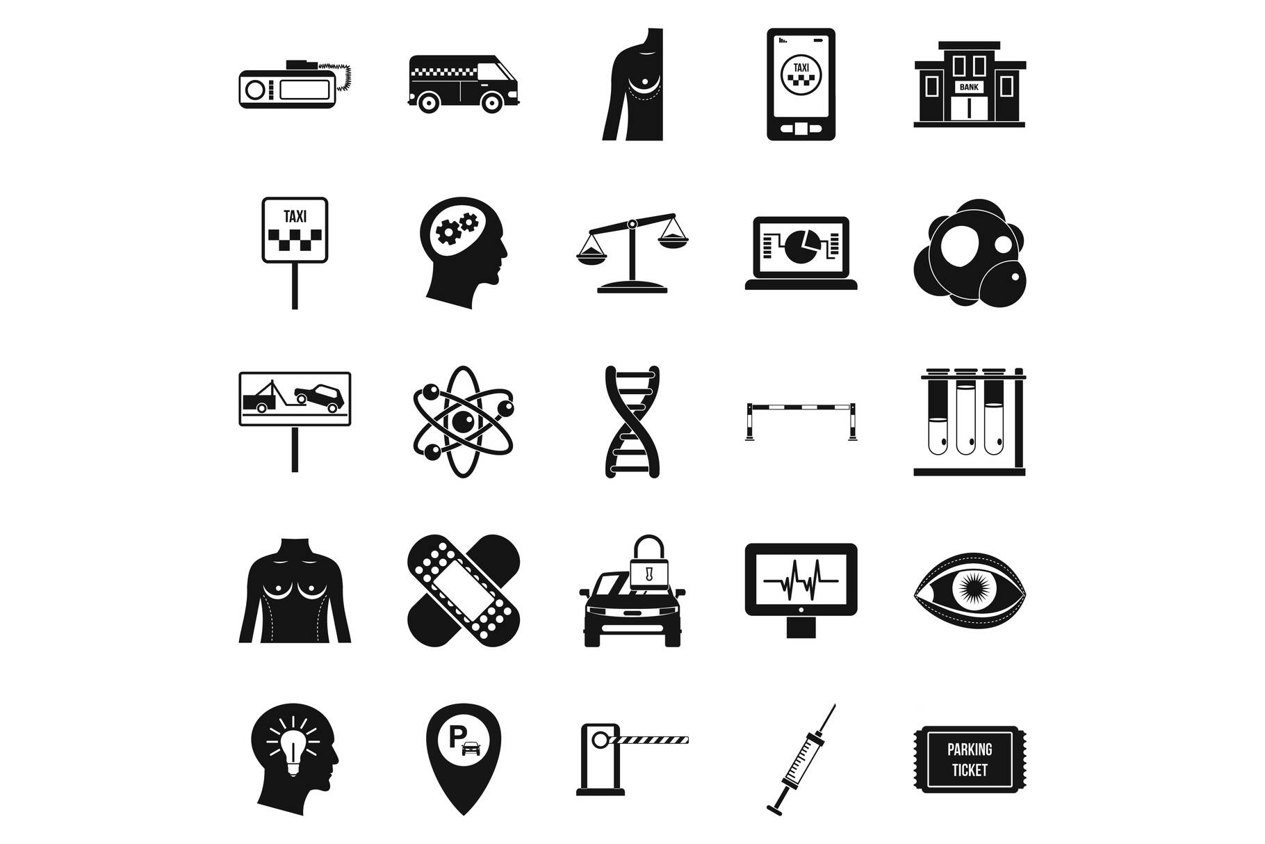 Staff icons set, simple style example image 1