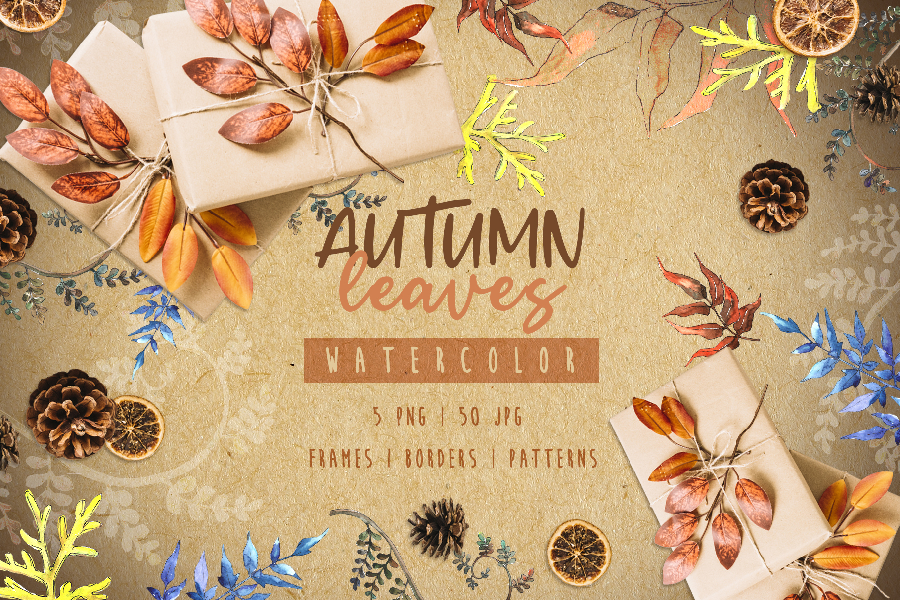 Watercolor autumn leaves png example image 1