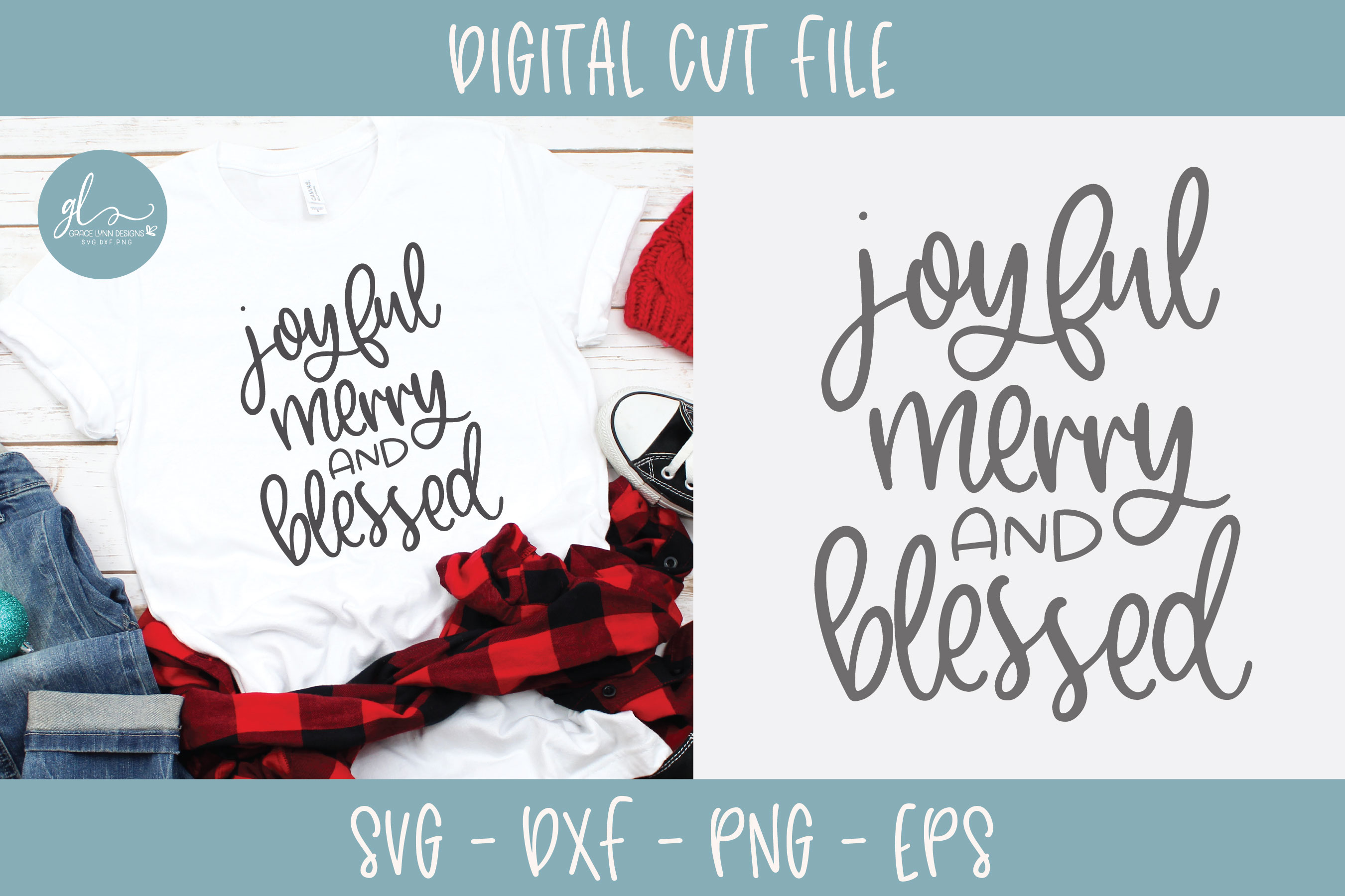 Joyful Merry And Blessed - Christmas SVG example image 3