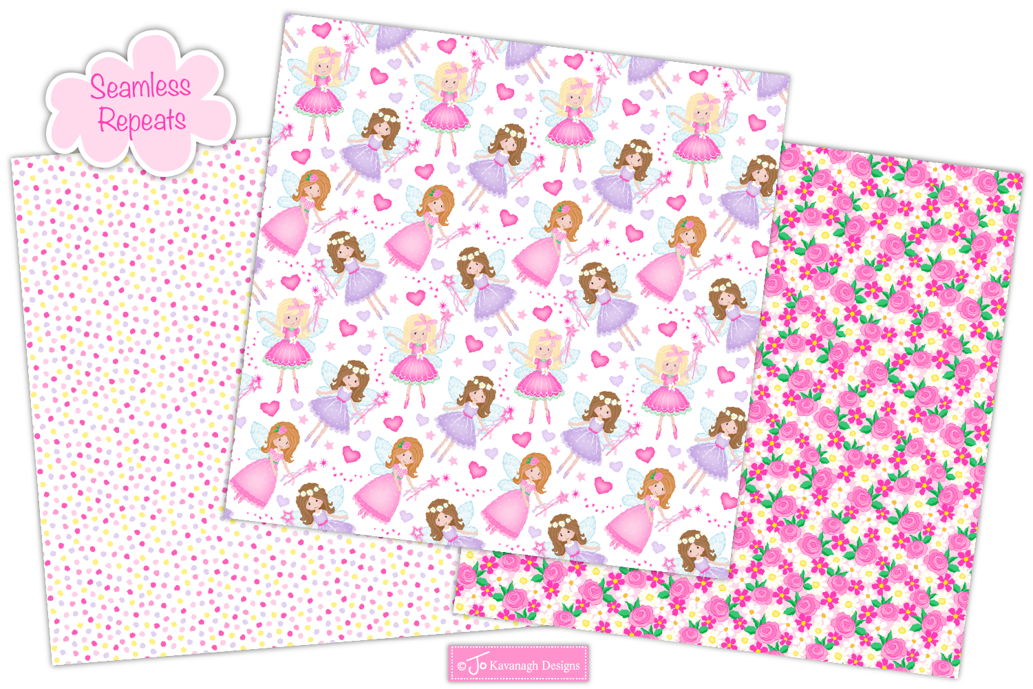 Fairy digital papers, Unicorn patterns, Fairies -P10 example image 3