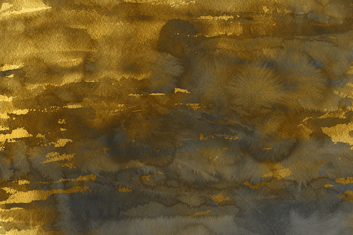 Golden Watercolor & Ink Backgrounds example image 6