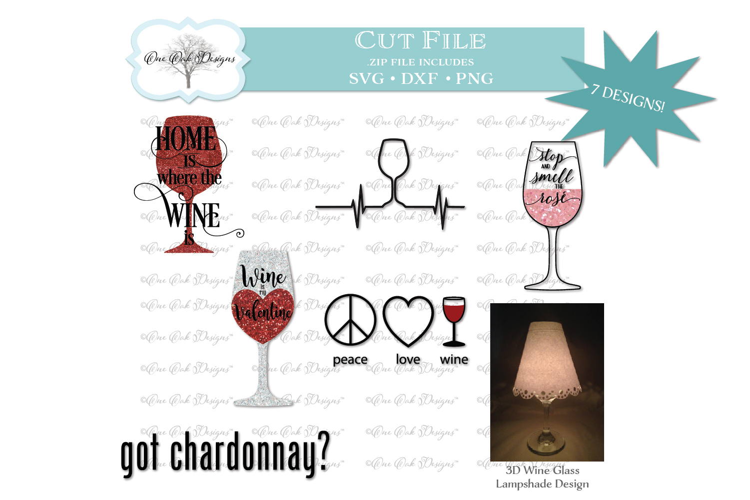 Wine Bundle SVG DXF PNG example image 1