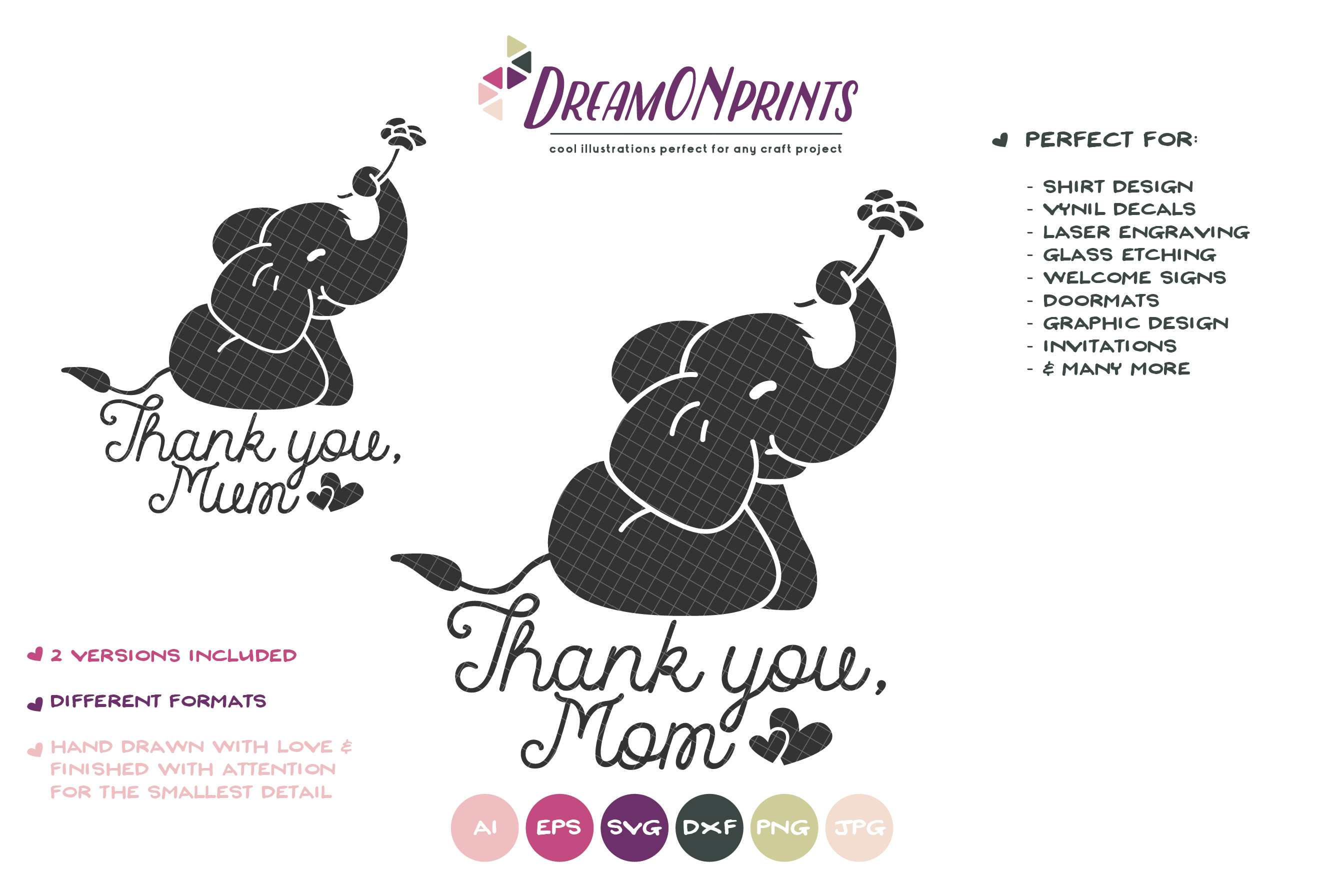 Elephant SVG Cut File - Mother's Day SVG - Thank You example image 2