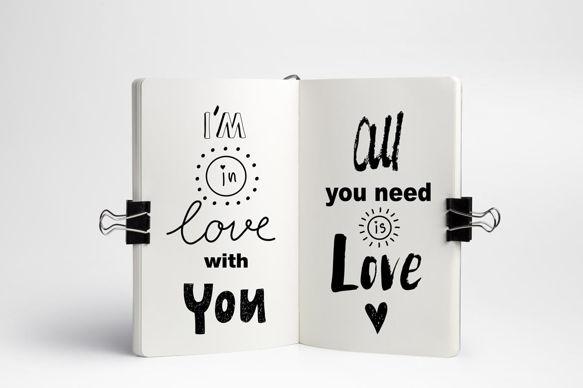 Hand drawn Romantic design kit example image 11