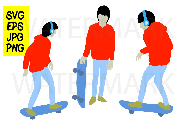 Skateboard boy 3 design - SVG-EPS-JPG-PNG example image 1