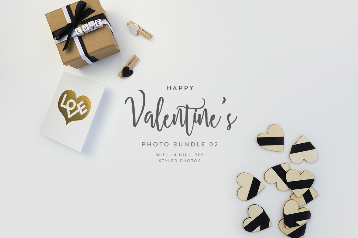 Valentine's Styled Photo Bundle - Black & White example image 5